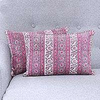 Cotton cushion covers, 'Climbing Mughal Rose' (pair) - Pink and White Floral Stripe Pair of Cotton Cushion Covers