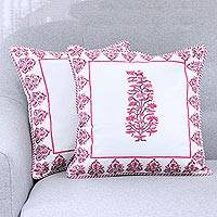 Cotton cushion covers, 'Flowers in a Frame' (pair) - 2 White Floral Hand Block Print Pink Cotton Cushion Covers