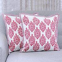 Cotton cushion covers, 'Majestic Blooms' (pair) - Pink and White Floral Blossom Pair of Cotton Cushion Covers