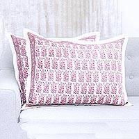 Cotton cushion covers, 'Blissful Blossoms' (pair) - Artisan Crafted Pair of Pink Floral Cotton Cushion Covers