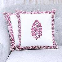 Cotton cushion covers, 'Blooming Pink' (pair) - Pink and White Floral Block Print Cotton Cushion Covers