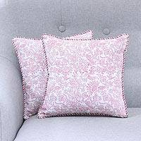 Cotton cushion covers, 'Mughal Garden' (pair) - Pink and White Mughal Garden Floral Pair of Cushion Covers