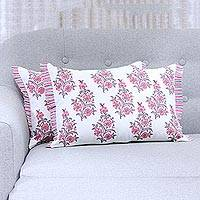 Cotton cushion covers, 'Cheerful Flowers' (pair) - 2 Pink and White Floral Block Print Cotton Cushion Covers