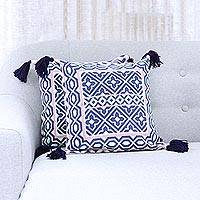 Cotton cushion covers, 'Geometric Blooms' (pair) - Navy Coral and Aqua Geometric Pair of Cotton Cushion Covers