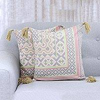 Cotton cushion covers, 'Jaipur Pink' (pair) - Pair of Pink and Green Tasseled Cotton Cushion Covers