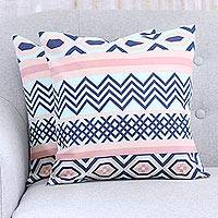 Cotton cushion covers, 'Modern Stripes' (pair) - Pastel and Navy Geometric Pair of Cotton Cushion Covers