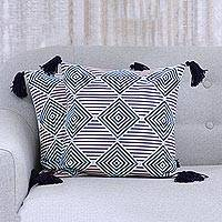Cotton cushion covers, 'Geometric Ambience' (pair) - Geometric Print Cotton Cushion Covers with Tassels (Pair)
