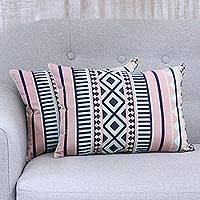 Cotton cushion covers, 'Geometric Inspiration' (pair) - Coral Geometric Striped Pair of Cotton Cushion Covers