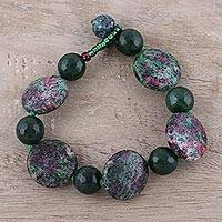 Agate beaded bracelet, 'Lagoon Sunrise' - Handcrafted Dark Green and Magenta Agate Beaded Bracelet