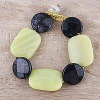 Agate and obsidian beaded bracelet, 'Cool Contrasts' - Obsidian Discs and Yellow Agate Rectangles Beaded Bracelet