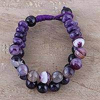 Agate beaded bracelet, 'Twilight Treasure' - Handcrafted Purple Agate Double Strand Beaded Bracelet
