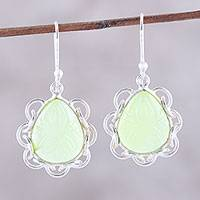 Chalcedony dangle earrings, 'Lovely Drops' - Leaf Motif Chalcedony Dangle Earrings from India