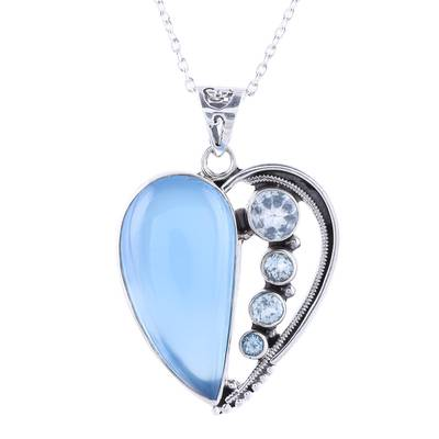 Chalcedony and Blue Topaz Heart Necklace from India