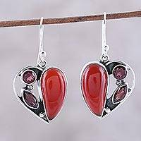 Carnelian and garnet dangle earrings, 'Red Hearts' - Carnelian and Garnet Heart Earrings from India