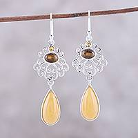 Multi-gemstone dangle earrings, 'Harmonious Trio' - Earth-Tone Multi-Gemstone Dangle Earrings from India