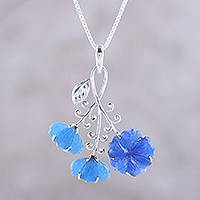 Quartz pendant necklace, 'Fascinating Blossoms' - Floral Blue Quartz Pendant Necklace from India