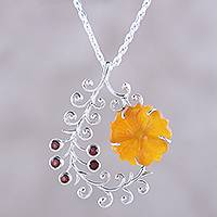 Quartz and garnet pendant necklace, 'Floral Pods' - Quartz and Garnet Flower Pendant Necklace from India