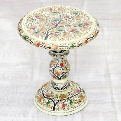 Wood decorative pedestal, 'Chinar Color' - Hand-Painted Leaf Motif Wood Decorative Pedestal from India