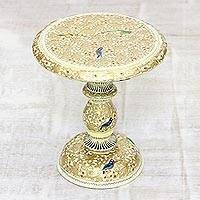 Wood decorative pedestal, 'Golden Chinar' - Walnut Wood Pedestal Painted with Chinar Leaves and Birds