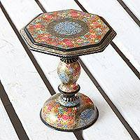 Wood decorative pedestal, 'Floral Kashmir' - Colorful Floral Wood Decorative Pedestal from India