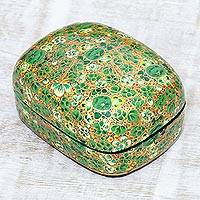 Decorative wood box, 'Lush Kashmir Valley' - Wood and Papier Mache Decorative Box with Floral Leaf Design