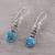 Citrine dangle earrings, 'Peaceful Dazzle' - Citrine and Composite Turquoise Dangle Earrings from India (image 2b) thumbail
