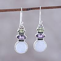 Multi-gemstone dangle earrings, 'Peaceful Dazzle' - Multi-Gemstone Dangle Earrings from India