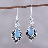 Chalcedony and blue topaz dangle earrings, 'Sky Fascination' - Chalcedony and Blue Topaz Dangle Earrings from India
