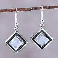 Rainbow moonstone dangle earrings, 'Trendy Kites' - Square Rainbow Moonstone Dangle Earrings from India