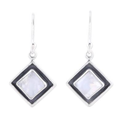 Square Rainbow Moonstone Dangle Earrings from India