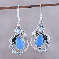 Blue topaz and chalcedony dangle earrings, 'Elegant Dew' - Blue Topaz and Chalcedony Dangle Earrings from India