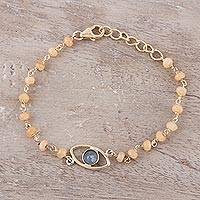 Gold plated labradorite and chalcedony pendant bracelet, 'All Eyes on You' - Gold Plated Labradorite and Chalcedony Pendant Bracelet