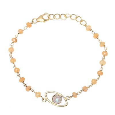 Gold Plated Labradorite and Chalcedony Pendant Bracelet