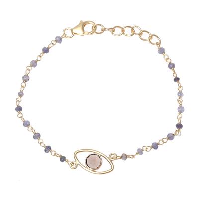 Gold Plated Smoky Quartz and Chalcedony Pendant Bracelet