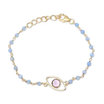 Gold Plated Amethyst and Chalcedony Pendant Bracelet