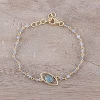 Gold plated chalcedony and labradorite pendant bracelet, 'All Eyes on You' - Gold Plated Chalcedony and Labradorite Pendant Bracelet