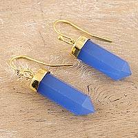 Gold accented chalcedony dangle earrings, 'Sky Blue Bullet' - Gold Accented 30-Carat Chalcedony Dangle Earrings from India