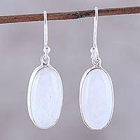 Rainbow moonstone dangle earrings, 'Dashing Beauty'