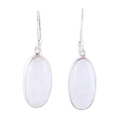Rainbow moonstone dangle earrings, 'Dashing Beauty' - Oval Rainbow Moonstone Dangle Earrings from India