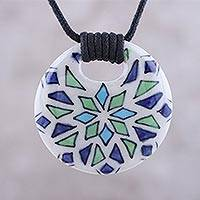 Ceramic pendant necklace, 'Fractal Flower' - Blue Green Geometric Modern Flower Ceramic Pendant Necklace