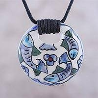 Ceramic pendant necklace, 'Frolicking Fish' - Blue Green Three Swimming Fish Ceramic Pendant Necklace