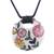 Ceramic pendant necklace, 'Bouquet Toss' - Pink Yellow Orange Floral Motif Ceramic Pendant Necklace (image 2a) thumbail