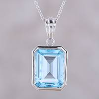 Blue topaz pendant necklace, 'Modern Frame' - Rectangular Blue Topaz Pendant Sterling Silver Necklace