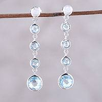Blue topaz dangle earrings. 'Floating Orbs' - Blue Topaz Floating Orbs Sterling Silver Dangle Earrings