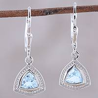 Blue topaz dangle earrings, 'Floating Stars' - Faceted Blue Topaz and Sterling Silver Dangle Earrings