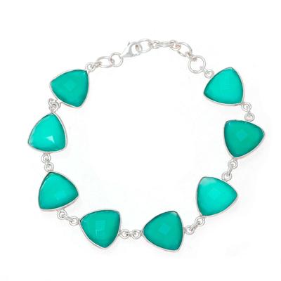 Onyx link bracelet, 'Triangle Dazzle' - 32-Carat Green Onyx Link Bracelet from India