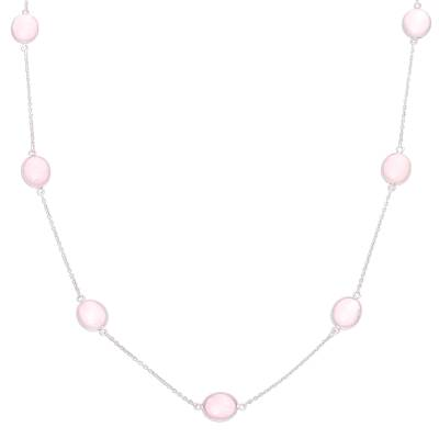 Rose quartz station necklace, 'Lively Innocence' - Rose Quartz Station Necklace Crafted in India