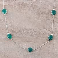 Onyx station necklace, 'Lively Innocence' - Green Onyx Station Necklace Crafted in India