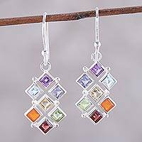 Multi-gemstone dangle earrings, 'Wellness' - Multi-Gemstone Chakra Dangle Earrings from India