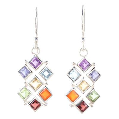 Multi-gemstone dangle earrings, 'Wellness' - Multi-Gemstone Chakra Dangle Earrings from India